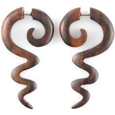 Fake Gauge Earrings - Wood Tribal Earrings Fake Piercing - Sono Wood... (26 AUD) ❤ liked on Polyvore featuring jewelry, earrings, piercings, snake jewelry, wood jewelry, lightweight earrings, snake earrings and holiday jewelry