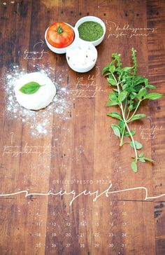 Grilled Pesto Pizza—August, from the 2013 Recipe Wall Calendar  Local/Seasonal by lizcarverdesign, $25.00    Gril