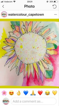 Copyright: Watercolour Cape Town colourful protea flower painted with watercolour and ink in my moleskine sketchbook. Tried out a new style of painting with bold and cool colourful tones. Watercolor And Ink, Watercolor Flowers, Watercolor Paintings, Protea Flower, Moleskine Sketchbook, Sketches, Tapestry, Photo And Video, Cape Town
