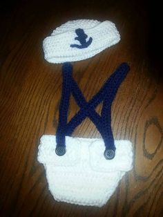 Crocheted sailor outfit https://www.etsy.com/listing/218693335/crocheted-newborn-sailor-outfit
