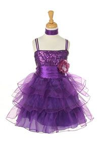 Flower Girl Dresses - Girls Dress Style 1108- Satin and Organza Dress with Sequin Detailing