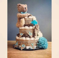 Oh Boy Rustic Shabby Chic Diaper Cake With Bear And Flower Accents, Shabby Baby  Shower Centerpiece, Rustic Shower, Bear Diaper Cake