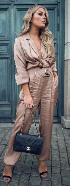 #spring #street #fashion #outfitideas |Satiny Nude Shirt + Pants | Angelica Blick                                                                             Source