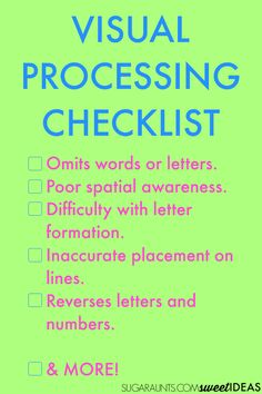 A visual processing checklist to use at home, school or therapy. Find out the strategies that will help address your child's visual processing skills. Improve Your Handwriting, Nice Handwriting, Handwriting Practice, Visual Motor Activities, Sensory Activities, Therapy Activities, Sensory Kids, Dyslexia Activities, Sensory Rooms