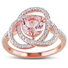 Miadora Rose Goldplated Silver 1ct Morganite and 1/10ct TDW Diamond Ring (H-I…