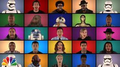 Jimmy Fallon performs a cappella 'Star Wars' medley with Harrison Ford, Carrie Fisher, Daisy Ridley and Harrison Ford, Adam Driver, Jimmy Fallon, Oscar Isaac, Carrie Fisher, Star Wars Musik, Percy Jackson, Vanity Fair, Cultura Nerd