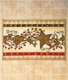Knlstore Linda Spivey Country Hearts And Stars Pip Berries Kitchen Bathroom Bath Rug Mat Knl Store