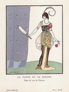 La Fleur et Le Miroir (The Flower and the Mirror) - Robe du soir  (Evening dress), by: Madame Madeleine Chéruit, Illustration by: Pierre Brissaud, published in: La Gazette du Bon-Ton, Volume 1, No. 2, December 1912