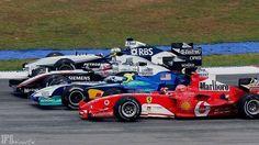 2005 Malaysian GP: Michael Schumacher, Felipe Massa, Juan Pablo Montoya and Nick Heidfeld