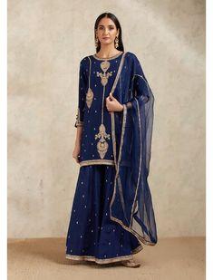 Dori and Sequin Embroidered Navy Sharara Set by NIDHI THOLIA Available at Ogaan Online Shop Beautiful Suit, Sharara, Indian Wear, Palazzo, Frocks, Kurti, Bridal Dresses, Girl Fashion, Kimono Top