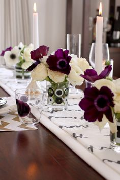 love this color palatte for table setting...black, white, gold with amethyst accent....