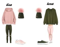 """lisa and lena"" by cherrybombred ❤ liked on Polyvore featuring Boohoo, Maison Kitsuné and adidas Originals"