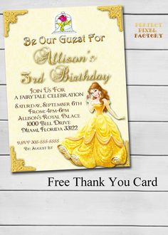 26 425 x 55 handmade princess belle birthday invitations disneys beauty and the beastdisney by perfectpixelfactory on etsy filmwisefo