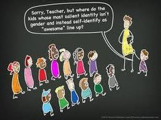 school cartoon: line up by gender - what if you just identify as awesome?
