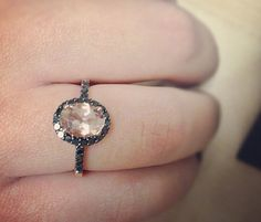 LOVE THIS RING!! Morganite & Black diamond