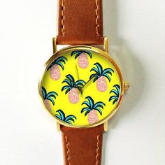 Pineapple Print Watch, Women Watches, Vintage Style Leather Watch,  Boyfriend Watch, Yellow