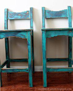 Vintage Turquoise Southwestern Bar Stools
