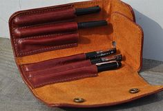 Handmade Leather Pen MXS case-pen bag for parker-red leather. $53.40
