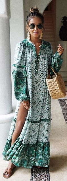 #spring #outfits woman wearing green and white long-sleeve dress holding basket. Pic by @spell_byronbay