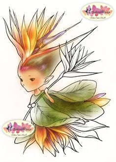 Digital Stamp - Bird of Paradise Sprite - Whimsical Strelitzia Fae - digistamp - Fantasy Line Art for Cards & Crafts by Mitzi Sato-Wiuff