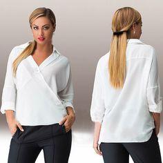 Womens Casual V-Neck Chiffon Shirt Sexy Oversize Loose Tops Blouse White Shirt