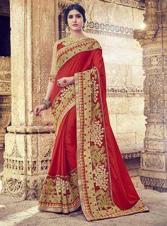 Red Georgette Engagement Wear Saree 88774
