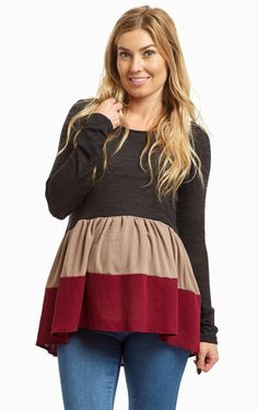 206c3a60a8aa1 With this peplum knit maternity top, you won't want to wear anything else
