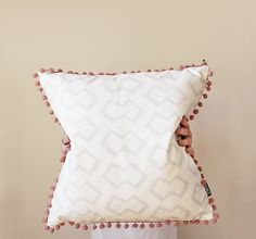 Timer Design Throw Cushion in Grey With Pom Pom by Zana