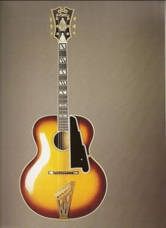 """Archtop Guitar, Lou Monte New Yorker model, 1963. This custom guitar is a one-of-a-kind instrument that D'Angelico designated as a Lou Monte New Yorker model for Lou Monte, the New York Italian American singer who was well known for his novelty songs, including """"Dominick the Donkey"""" and """"Pepino the Italian Mouse."""" This guitar, with an unusual round sound hole instead of the typical f-holes, is one of the last guitars that D'Angelico built and was made in the last year of his life."""