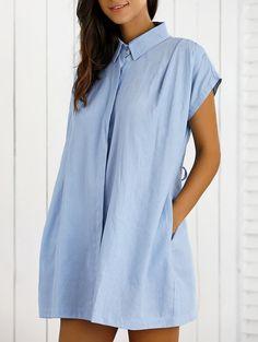 Lace Up Denim Shift Shirt Dress