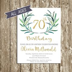 70th Birthday Invitation Birthday invitations for woman Green and gold Birthday Invitation for Men 60th Birthday Invitation 70 year old 50th by DorindaArt on Etsy https://www.etsy.com/listing/498735280/70th-birthday-invitation-birthday