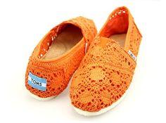 Orange Crochet Toms Classic Shoes, Buy Toms Crochet Shoes Online