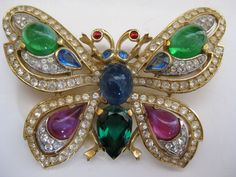 Retro Collection Trifari Butterfly Insect Brooch Pin Goldtone Rhinestones Pouch | eBay
