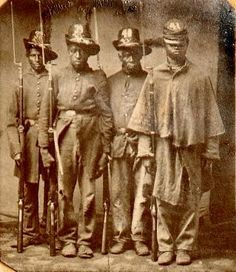 Unidentified Soldiers Of The United States Colored Troops The was oganized January 1863 or February as South Carolina Volunteers Colored Infantry. Attached to U. Black History Facts, African American History, World History, American Soldiers, American Civil War, By Any Means Necessary, Civil War Photos, Mellow Yellow, Military History