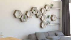 By combining our hexagon shelves and slimline floating shelves you can add great new dimensions to a wall feature. Extend the design into a corner space. Home Decor Furniture, Home Decor Bedroom, Cool Furniture, Furniture Design, Geometric Shelves, Hexagon Shelves, Tv Wall Design, Bookshelf Design, Shelf Above Tv