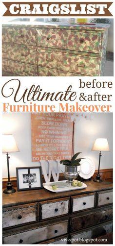 Before and After DIY Furniture Makeover   The V Spot Blog www.thevspotblog.com #furniture #makeover #diy