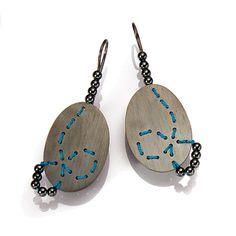 Model 402: Loop Earrings by Brigitte Adolph: Hematite and silver.