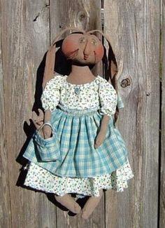 Primitive Folk Art Doll Pattern Bunny w Baby by Raggedyrhondas, $8.50