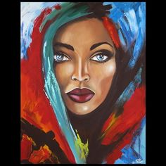 Painting paint woman with blue eyes kind Arte Pop, Art And Illustration, African Art Paintings, Africa Art, Black Girl Art, African American Art, Portrait Art, Face Art, Art Pictures