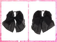 ***AGOTADO*** Forever 21  Código: FA-27 Georgette bow hair elastic Color: Black Precio: $8,25 (¢4.500) Para pedidos y consultas llamar al teléfono 8963-3317 o al email maya.boutique@hotmail.com.