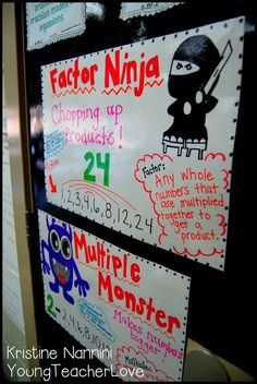 Multiple Monster and Factor Ninja - A great way to help kids remember multiples and factors! Young Teacher Love Blog by Kristine Nannini