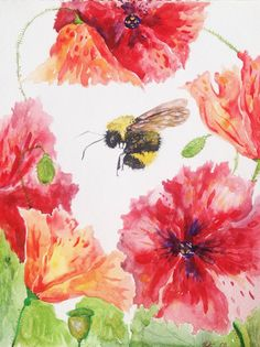 "Watercolor Painting, Original Art, Poppies and a Bumble Bee, 9""x12"""