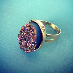 Rainbow Oval Druzy Ring now featured on Fab.