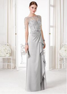 Classic Tulle & Satin Bateau Neckline A-Line Evening Dresses With Beads & Sequins #selectprom