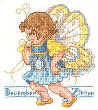 Toddler Birthstone Fairy December Zircon Free Cross Stitch Pattern 1/5