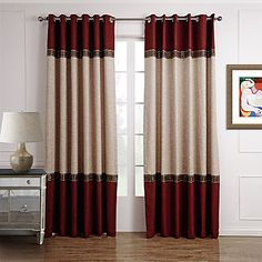 Two Panels Solid Beige Red Curtains   Drapes vs Curtains Blog