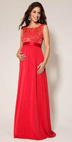 Valencia Maternity Gown Long Sunset Red - Maternity Wedding Dresses, Evening Wear and Party Clothes by Tiffany Rose.