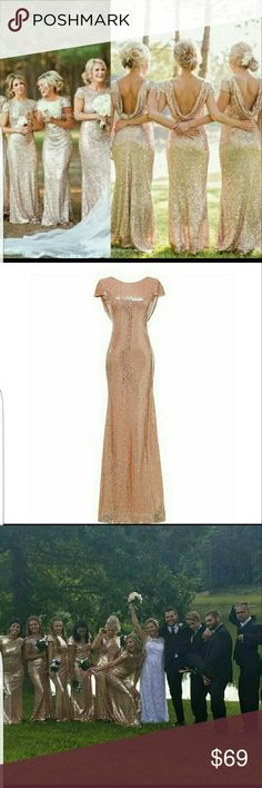 Rose gold dress SIZE 8 BUT FITS SMALL The dress has been hemmed to fit about 5'2 height, but can be undone. The dress is in near perfect condition. It was only worn for a short time. Pictures were taken outside so the very bottom of the dress on the inside is slightly dirty. 17 Sundays Dresses Prom