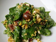 Greek Spinach Salad with Herbed Tempeh recipe