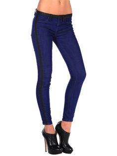 Ankle Skinny with Vegan Leather Tuxedo Stripe — Pink Mascara